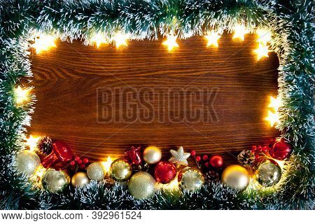 Christmas Background, A Table Decorated With Christmas Garland .with New Year And Christmas. Christm