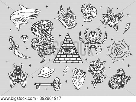 Vintage Tattoos Composition With Various Animals Machete Skull With Fire From Eye Sockets Planet Key