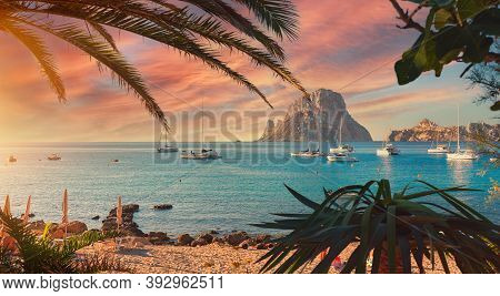 Cala D'hort Beach. Cala D'hort In Summer Is Extremely Popular, Beach Have A Fantastic View Of The My