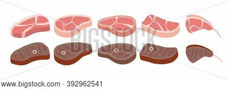 Steak Icon Set. Cartoon Set. Cartoon Beef Steaks. Grilled Steak, Beef Meats And Filet Mignon