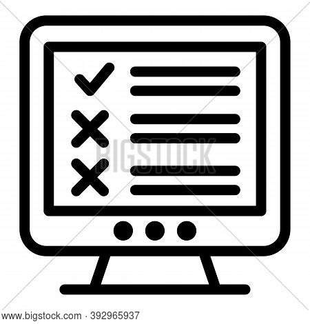 Monitor Assignment Icon. Outline Monitor Assignment Vector Icon For Web Design Isolated On White Bac