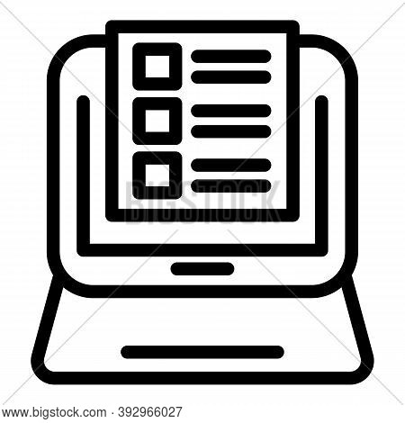 Online Assignment Icon. Outline Online Assignment Vector Icon For Web Design Isolated On White Backg
