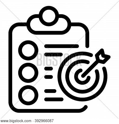 Assignment Target Icon. Outline Assignment Target Vector Icon For Web Design Isolated On White Backg