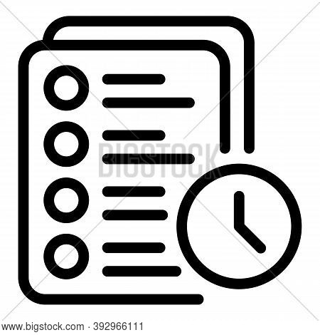 Assignment Time Icon. Outline Assignment Time Vector Icon For Web Design Isolated On White Backgroun