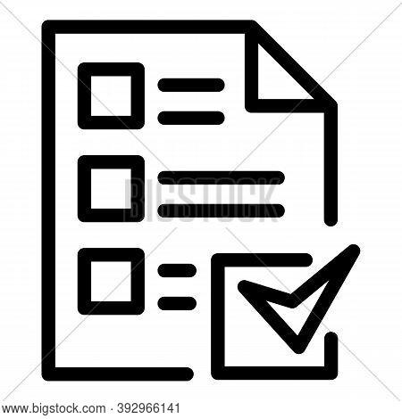 Assignment Done Icon. Outline Assignment Done Vector Icon For Web Design Isolated On White Backgroun
