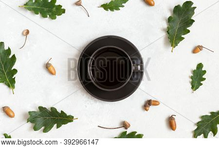 Pattern With Coffee In A Black Cup, Oak Leaves And Acorns On A White Background. Acorn Coffee Withou