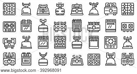 Burning Gas Stove Icons Set. Outline Set Of Burning Gas Stove Vector Icons For Web Design Isolated O