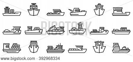 Ferry Icons Set. Outline Set Of Ferry Vector Icons For Web Design Isolated On White Background