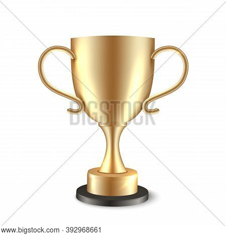 Winner Trophy Cup. Golden Champion Award. Gold Vector Realistic Shiny Soccer Cup.