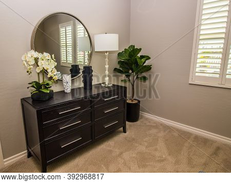 Guest Bedroom With Wall Mirror, Wooden Dresser & Decorator Items