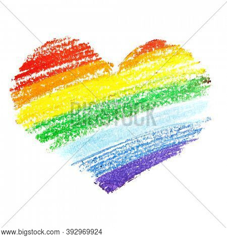 Rainbow heart by crayon isolated on the white background.  Gay pride