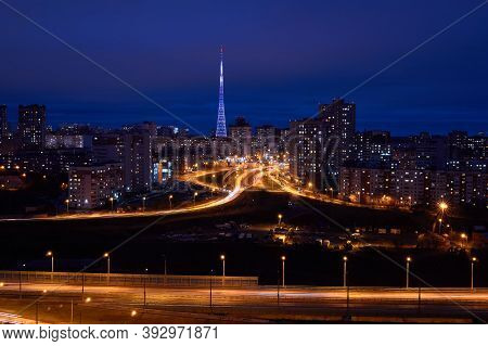 Perm, Russia - November 01, 2020: Night View Of The City With Street Lighting Roads And Illuminated
