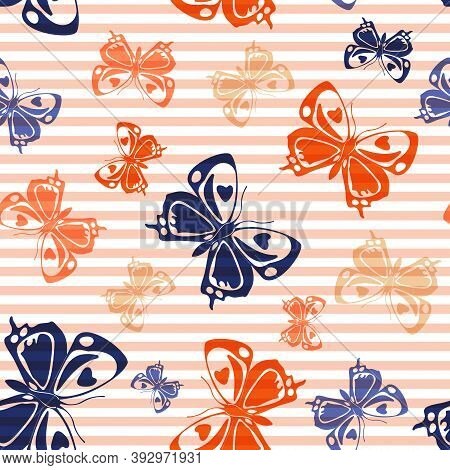 Flying Modern Butterfly Silhouettes Over Striped Background Vector Seamless Pattern. Childish Fashio