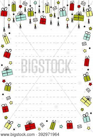 New Year's Form. Blank For A Letter To Santa Claus. Festive Template For Letter, Diploma, Certificat
