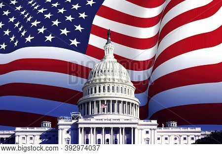 The Us Capitol In Washington With The American Flag Waving In The Background. Patriotism And Democra