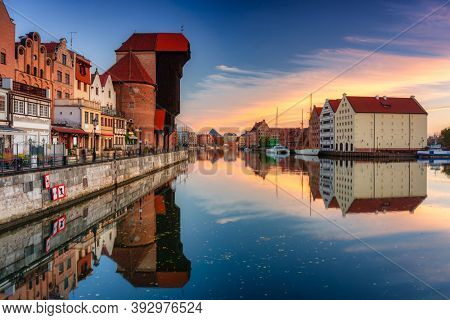 Gdansk with beautiful old town over Motlawa river at sunrise, Poland.