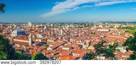Aerial Panoramic View Of Old Historical City Centre Of Brescia City With Churches, Towers And Mediev