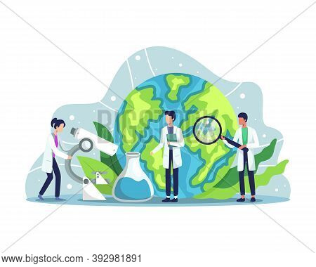 Ecologist Taking Care Of Earth And Nature. Scientist Taking Care Of Nature And Study Ecological Envi