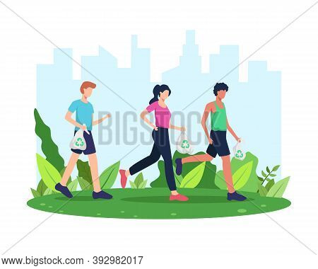 Vector Illustration Plogging. Run And Clean, Plogging Movement Or Marathon. Man And Woman Picking Up