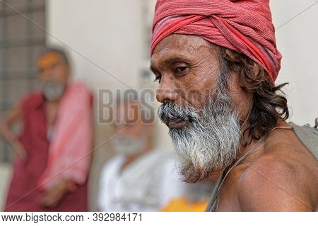 Jaipur, India, October 27, 2017 : Sadhus In An Ashram. A Sadhu Is A Religious Ascetic, Mendicant Or