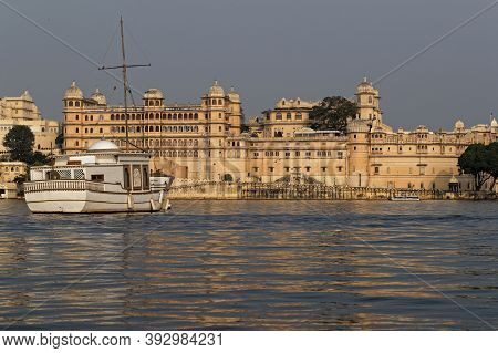 Udaipur, India, November 5, 2017 : City Palace Of Udaipur From The Lake. City Palace Was Built Over