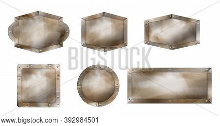 Old Metal Signs Different Shapes, Rusty Boards With Steel Frame And Screws. Vector Realistic Set Of