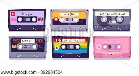 Audio Cassettes, Retro Tapes, Media Storage For Music And Sound Isolated On White Background. Vintag