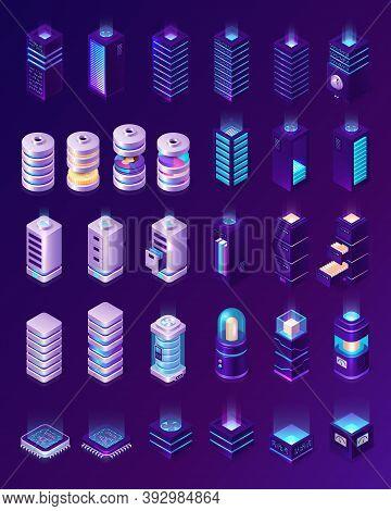 Isometric Data Center, Server Room Equipment, Hardware Racks Or Web Hosting Infrastructure Icons Iso