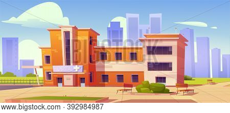 Hospital Building, Town Clinic. Vector Cartoon Cityscape With Exterior Of Modern Medical Office. Con