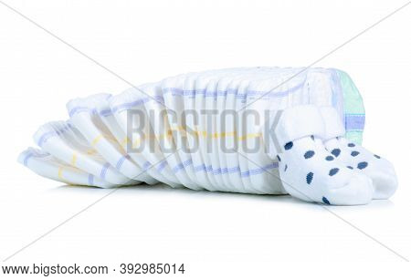 Stack Baby Diapers On White Background Isolation