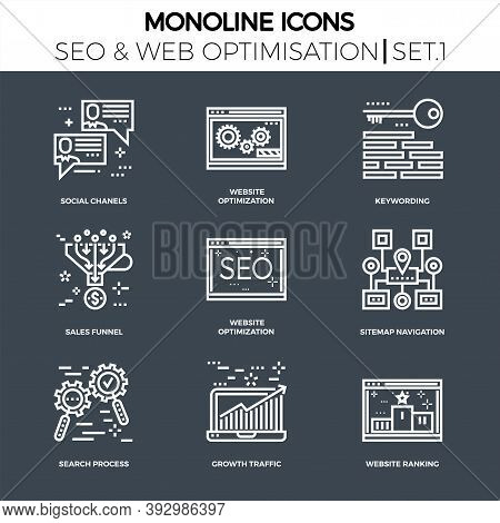 Line Icons Set With Flat Design Of Search Engine Optimization. Social Chanels, Keywording, Sales Fun