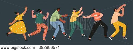 Funny Dancers In Different Poses Enjoy A Dance Party. Smiling Young Men And Women At A Music Festiva