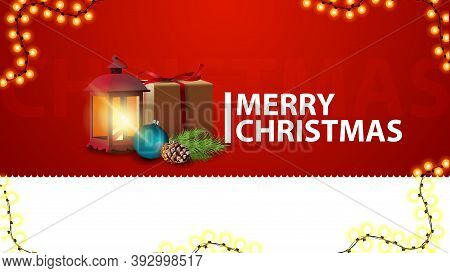 Merry Christmas, Horizontal Red Greetings Banner For Website With Gift, Vintage Lantern, Christmas T