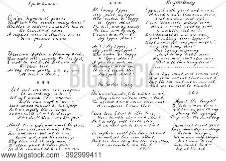 Set Of Unreadable Hand-written Poems. Retro Background Of Illegible Ink-written Poetry. Overlay Temp