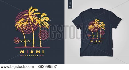 Miami Florida T-shirt Vector Design, Poster, Print, Template