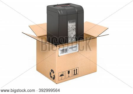 Paper Shredder Inside Cardboard Box, Delivery Concept. 3d Rendering Isolated On White Background