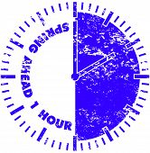 Spring ahead 1 hour daylight savings time rubber stamp poster