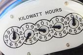Close-up of electric meter face showing kilowatt hours. poster