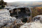 Mountain. Cave city Eski-Kermen Crimea Ukraine VI-XIV centuries poster