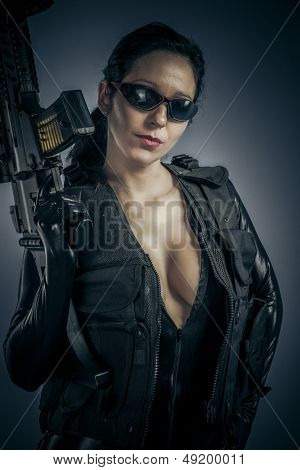 Sensual policewoman with latex costume