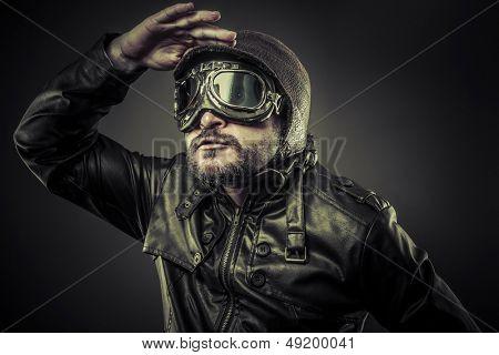 Steampunk concept, pilot vintage with big glasses