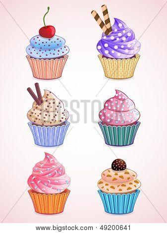 vector cute cupcakes
