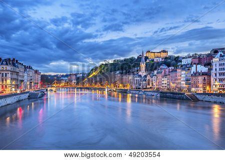 The Saone River In Lyon City