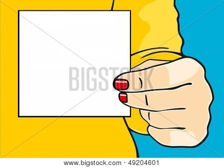 Female hand with a sheet of paper