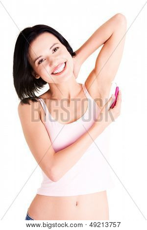 Beautiful smiling young woman shaving her armpit poster