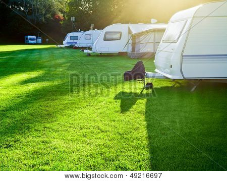 Travel trailer camping in a morning light