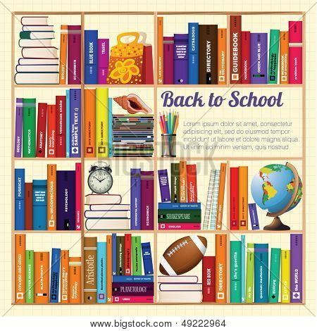 Bookshelves. Back to school. Vector background.
