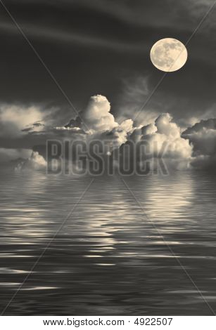 Stormy night sky with cumulus clouds and a golden full moon on the spring equinox with reflection over water. poster