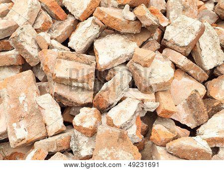 close up Pile of demolished brick wall poster
