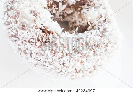 Piece Of Chocolate Coconut Donut Up Close